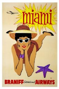 Vintage travel poster, Braniff international airways, Miami